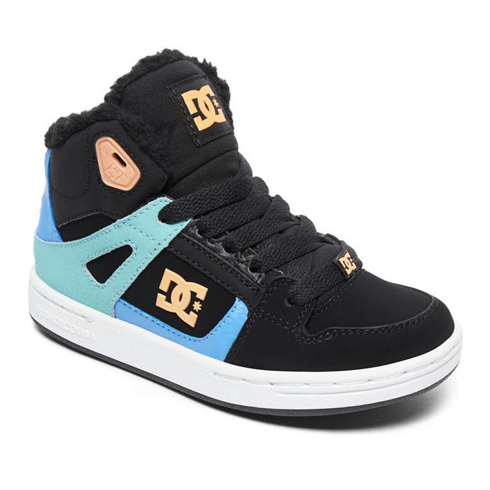 DC PURE HIGH TOP WNT BOOTS BLACK MULTI WHITE