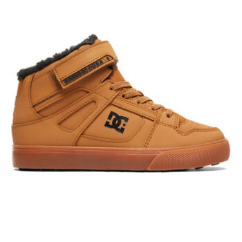 DC KIDS PURE HIGH TOP WNT ELASTIC LACED BOOTS WHEAT