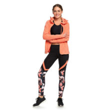 ROXY LEAD BY THE SLOPES TECHNICAL BASE LAYER LEGGINGS LIVING CORAL PLUMES