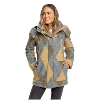 ROXY DAWN TECHNICAL INSULATED HOODED COAT HEATHER GREY TREETOP