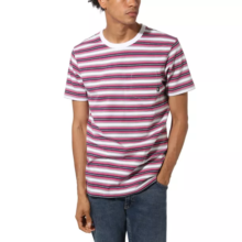 VANS KNOLLWOOD STRIPE T-SHIRT WHITE FUCHSIA PURPLE