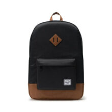 HERSCHEL HERITAGE BACKPACK BLACK TAN SYNTHETIC LEATHER