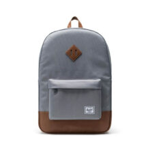 HERSCHEL HERITAGE BACKPACK GREY TAN SYNTHETIC LEATHER