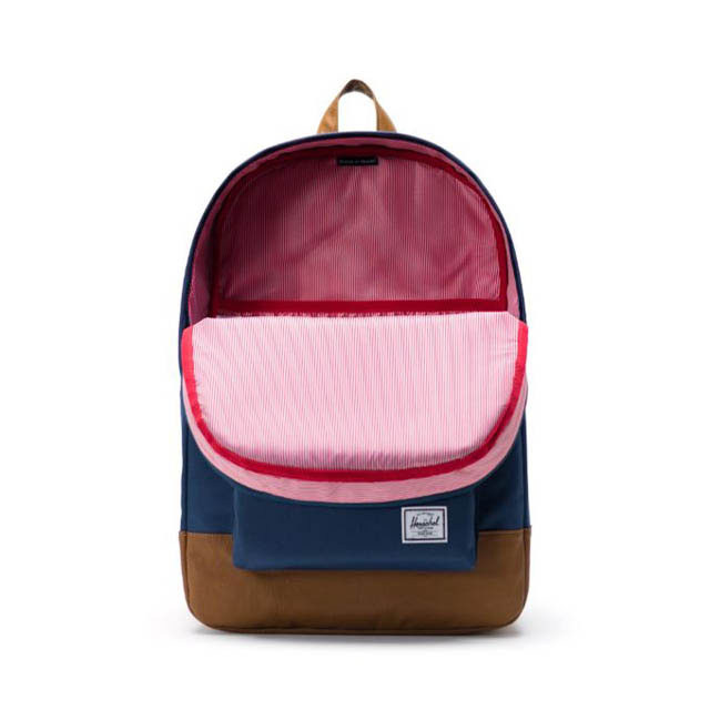HERSCHEL HERITAGE BACKPACK NAVY TAN SYNTHETIC LEATHER