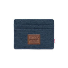 HERSCHEL CHARLIE WALLET INDIGO DENIM CROSSHATCH SADDLE BROWN