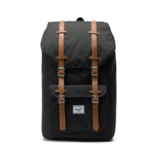 HERSCHEL LITTLE AMERICA BACKPACK BLACK TAN SYNTHETIC LEATHER