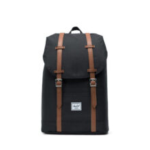 HERSCHEL RETREAT MID VOLUME BACKPACK BLACK TAN SYNTHETIC LEATHER