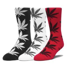 HUF ESSENTIALS PLANTLIFE 3PK SOCKS BLACK WHITE CYBER RED