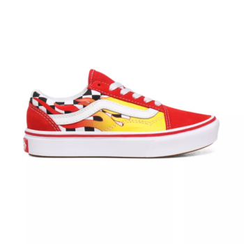 VANS JUNIOR COMFYCUSH OLD SKOOL FLAME CHECKERBOARD RED