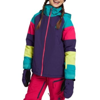 BURTON HART GIRLS SNOW JACKET PARACHUTE PURPLE RAINBOW