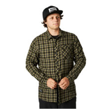 FOX REEVES LS WOVEN OLIVE GREEN