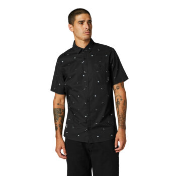 FOX DECRYPTED WOVEN SHIRT BLACK WHITE