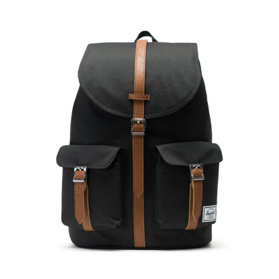 HERSCHEL DAWSON BACKPACK BLACK TAN SYNTHETIC LEATHER