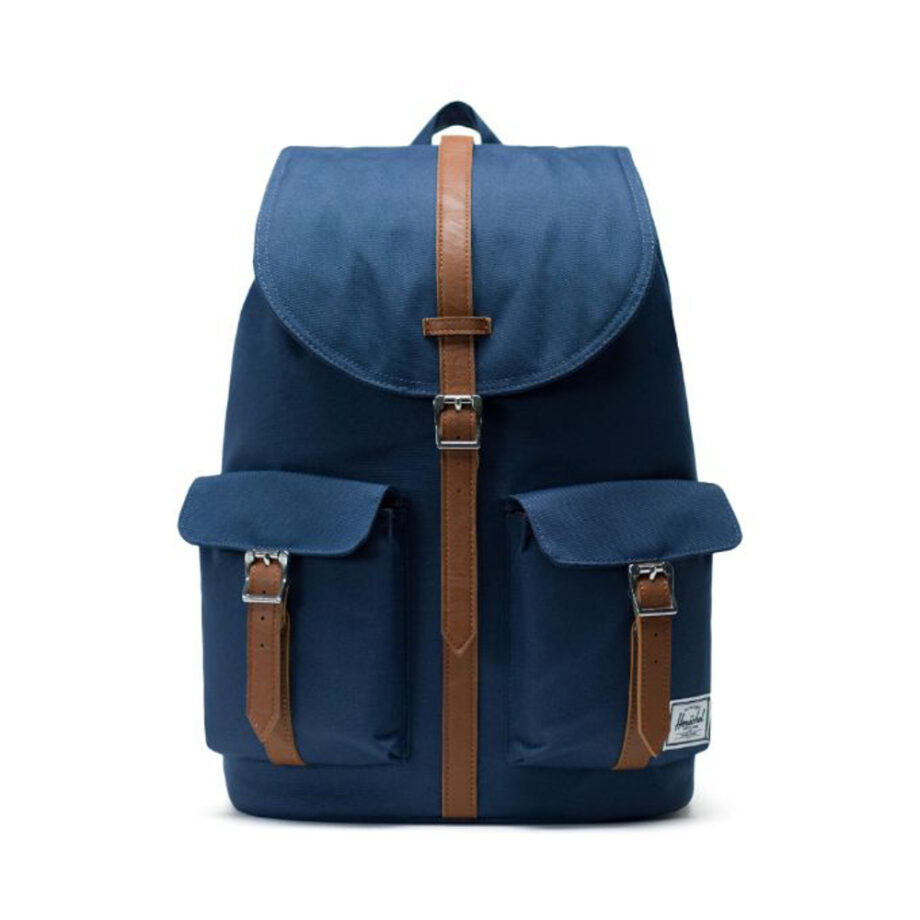 HERSCHEL DAWSON BACKPACK NAVY TAN SYNTHETIC LEATHER