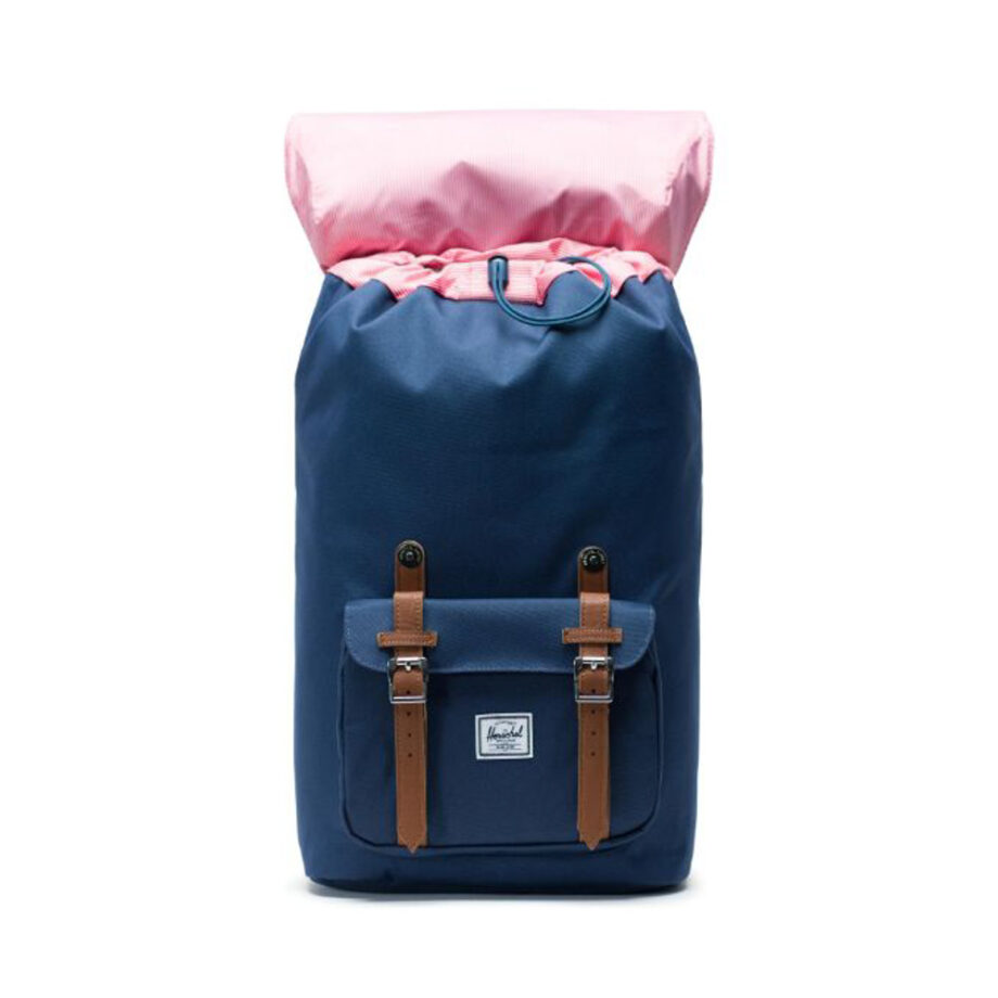 HERSCHEL LITTLE AMERICA BACKPACK NAVY TAN SYNTHETIC LEATHER