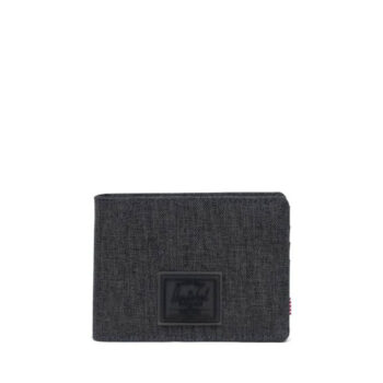 HERSCHEL ROY WALLET BLACK CROSSHATCH BLACK RUBBER
