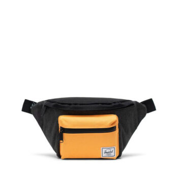 HERSCHEL SEVENTEEN HIP PACK BLACK CROSSHATCH BLACK BLAZING ORANGE