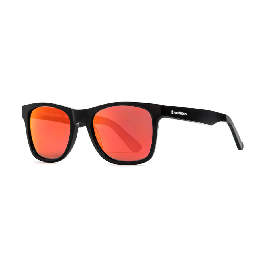 HORSEFEATHERS FOSTER SUNGLASSES GLOSS BLACK MIRROR RED