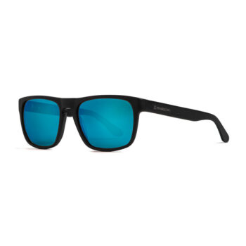HORSEFEATHERS KEATON SUNGLASSES BRUSHED BLACK MIRROR BLUE