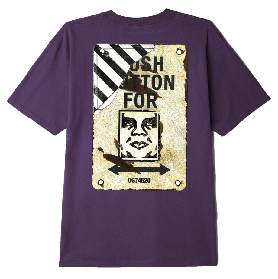 OBEY CROSSWALK SIGN SUSTAINABLE T-SHIRT MAUVE