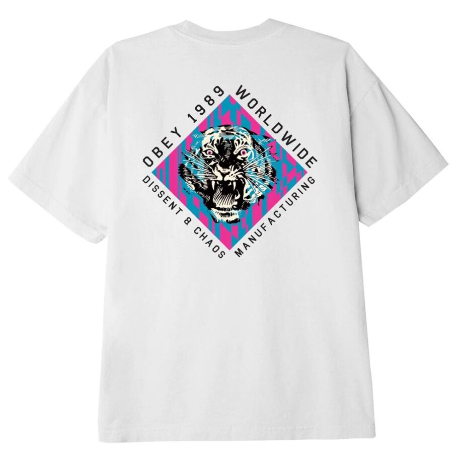 OBEY DISSENT & CHAOS TIGER CLASSIC T-SHIRT WHITE