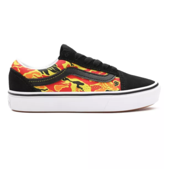 VANS KIDS COMFYCUSH OLD SKOOL SHOES FLAME CAMO BLACK TRUE WHITE
